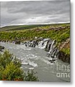 Hraunfossar Waterfall In Iceland Metal Print