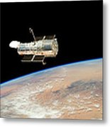 Hubble  Telescope  In  Orbit  Above  Earth Metal Print