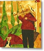 Hubbs Art Folk Prints Whimsical Animal Dogs Pet Music Instrument Fiddler Violin Metal Print