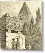 Hubert Robert, French 1733-1808, The Sarcophagus Metal Print