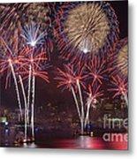 Hudson River Fireworks Viii Metal Print by Clarence Holmes