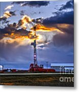 Sunset Over The Oil Rigs Metal Print