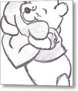Huggable Pooh Bear Metal Print
