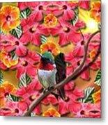 Hummingbird And Hibiscus Metal Print