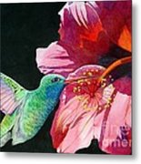 Hummingbird And Hibiscus Metal Print by Robert Hooper
