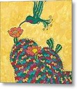 Hummingbird And Prickly Pear Metal Print