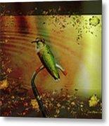 Hummingbird At The Pond Metal Print