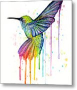 Hummingbird Of Watercolor Rainbow Metal Print
