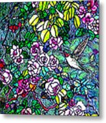 Hummingbird Tiffany Style Metal Print