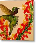 Hummingbird With Red Flowers Metal Print