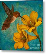 Hummingbird With Yellow Jasmine Metal Print