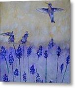 Hummingbirds Among Larkspur Metal Print