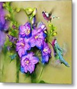 Hummingbirds Butterflies And Flowers Metal Print