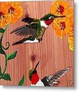 Hummingbirds On Cedar Metal Print