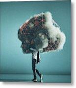 Humorous mobile cloud computing conceptual image Metal Print
