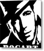 Humphrey Bogart Black And White Pop Art Metal Print