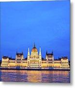 Hungarian Parliament Building At Dusk Metal Print