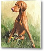 Hunting Dog Puppy Watercolor Portrait Metal Print