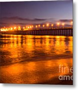 Huntington Beach Pier At Night Metal Print