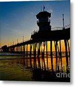 Huntington Beach Pier At Sunset Metal Print