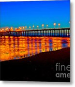 Huntington Beach Pier - Nightside Metal Print