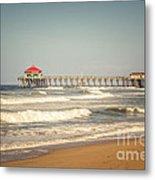 Huntington Beach Pier Retro Toned Photo Metal Print by Paul Velgos