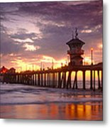 Huntington Beach Pier Sunset Metal Print