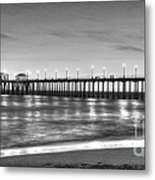 Huntington Beach Pier Twilight - Black And White Metal Print
