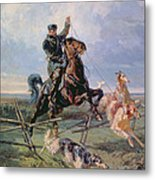 Huntsman With The Borzois Metal Print by Rudolph Frenz