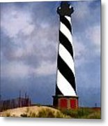 Hurricane Coming At Cape Hatteras Lighthouse Metal Print