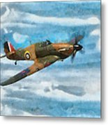 Hurricane Fighter Watercolour Metal Print