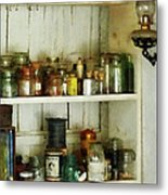 Hurricane Lamp In Pantry Metal Print