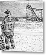 Hurricane Sandy Black And White Metal Print