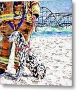 Hurricane Sandy Fireman And Dog  Metal Print