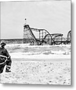 Hurricane Sandy Fireman Black And White Metal Print by Jessica Cirz