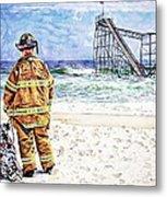 Hurricane Sandy Fireman Metal Print