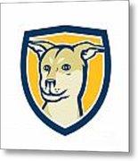 Husky Shar Pei Cross Dog Head Shield Cartoon Metal Print
