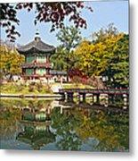 Hyangwonjeong Pavilion In Autumn Metal Print