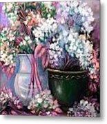 Hydrangeas Still Life Pink Metal Print