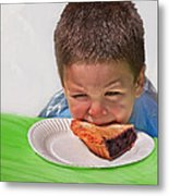 I Don't Want To - Pie Eating Contest Art Prints Metal Print