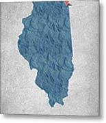 I Love Chicago Illinois - Blue Metal Print