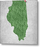 I Love Chicago Illinois - Green Metal Print