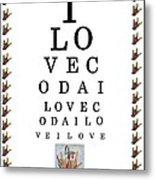 I Love Coda Eye Chart Metal Print