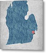 I Love Detroit Michigan - Blue Metal Print