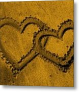 I Love You In The Sand Metal Print