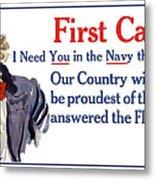 I Need You In The Navy - Uncle Sam Wwi Metal Print