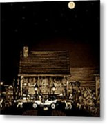 Midnight Reflections Of The Old Time Classic 1908 Model T Ford In Sepia Color Metal Print