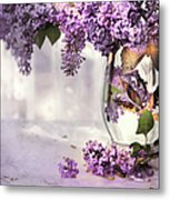 I Picked A Bouquet Of Lilacs Today Metal Print by Theresa Tahara