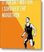 I Survived Marathon Runner Retro Poster Metal Print