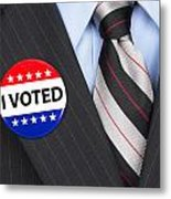 I Voted Pin On Lapel Metal Print